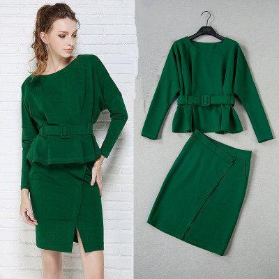 Юбка костюм женщины офисные дамы юбка костюмы высокое качество 2016 новый зеленый элегантный batwing рукавом блузки и вырезать юбки установить NS235