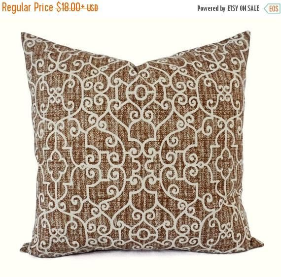 15% OFF SALE Two Pillow Covers  Brown Throw Pillows  Trellis