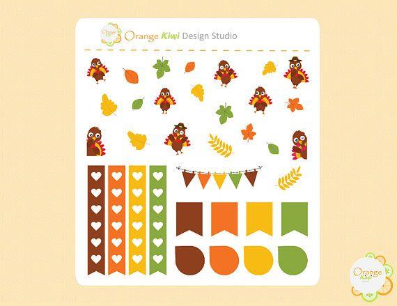 Thanksgiving Planner Stickers Thanksgiving Mini Kit Cute