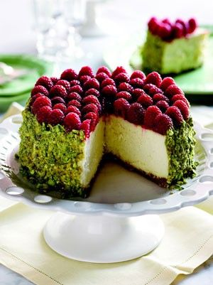 Pistachio,+Raspberry+Cheesecake ¼+cup+shelled,+unsalted+pistachios ¼+cup+granulated+sugar ¼+teaspoon+coarse+salt 1+¼+cups+graham+cracker+crumbs 5+tablespoons+unsalted+butter,+melted+and+cooled Filling+ 2+pounds+cream+cheese,+at+room+temperature+for+at+least+6+hours 1+1/3+cups+granulated+sugar ½+teaspoon+coarse+salt 2+teaspoons+pu
