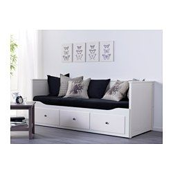 IKEA - HEMNES, Daybed with 3 drawers/2 mattresses, white/Minnesund firm, , Four functions - sofa, single bed, double bed and storage solution.You will get all-over support and comfort with the resilient foam mattress.The mattress is approved for seating, as the zipper is placed on the bottom.