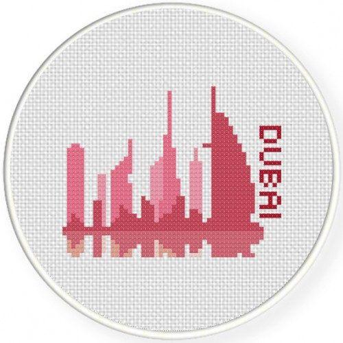 Dubai Illustration, Handmade Unframed Cross Stitch- City Wall Art, Dubai Skyline, Art Deco Wall Art, Wall Art Print