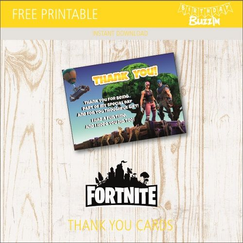Free Printable Fortnite Thank You Cards Aaliyah S 11th Birthday