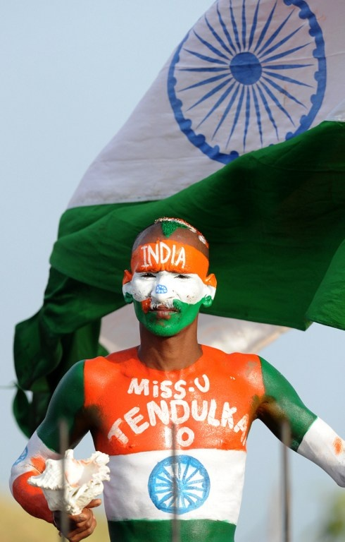 The 'Mr. India' of cricket fans, Sudhir Kumar Choudhury, doing his thing for the love of the Indian cricket team. And Sachin Tendulkar.