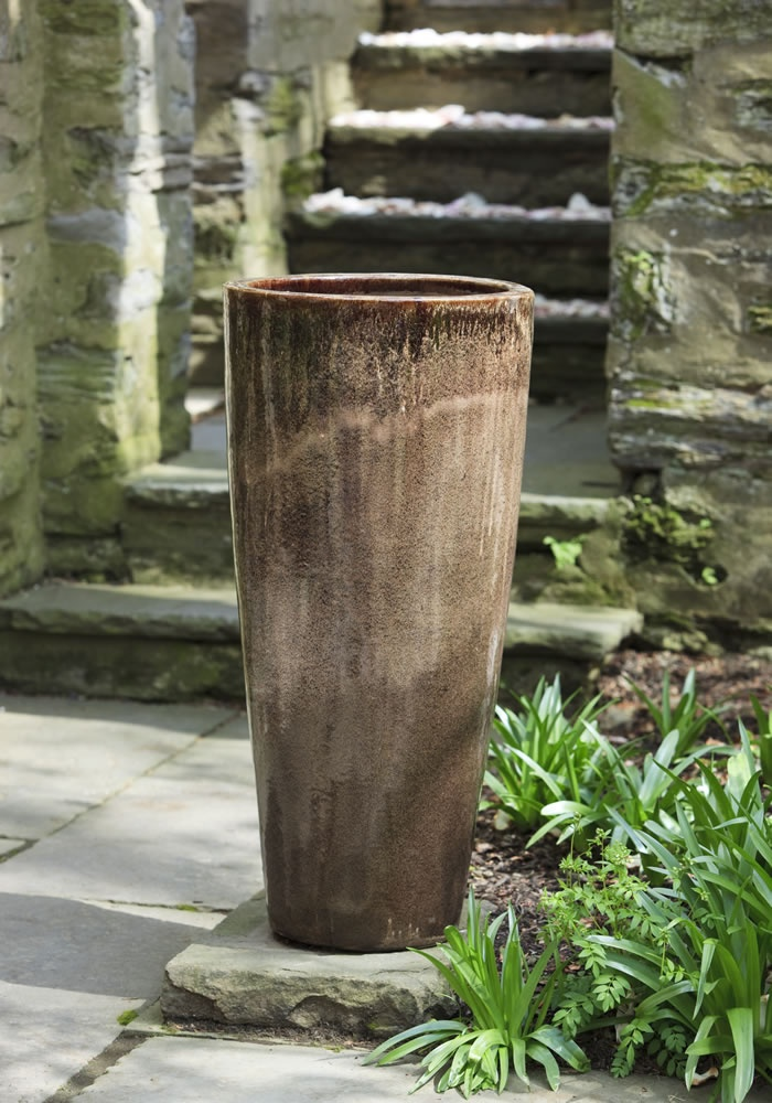 Astrid Tall Round Planter Set Of 2 In Iced Coffee Glazed