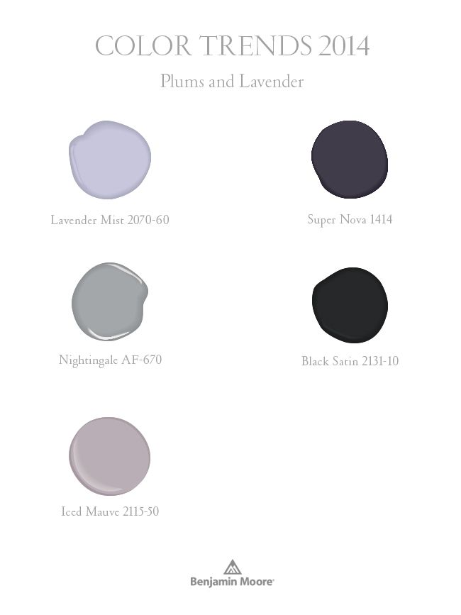 Benjamin Moore Color Trends 2014:  Purples and Lavenders