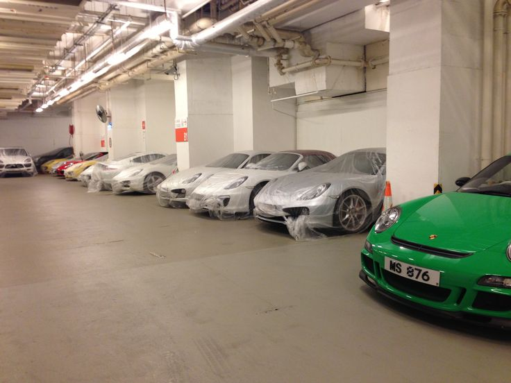 Shrink-wrapped Porsches.