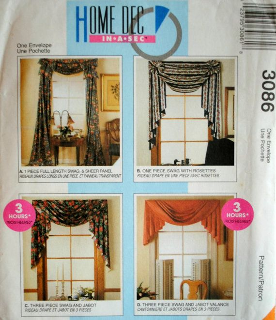 Genial Uncut Window Treatment Sewing Pattern McCalls Home Decor 3086 Swag Sheer  Panel Rosettes Jabot Bow Valance