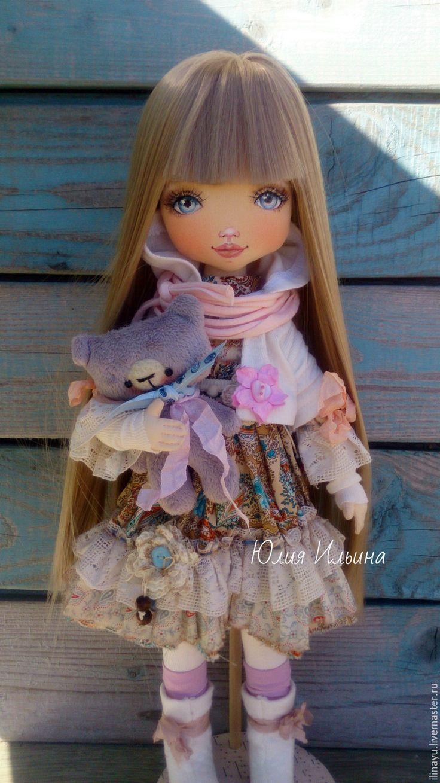 Купить Текстильная кукла - коралловый, кукла ручной работы, кукла текстильная, кукла интерьерная