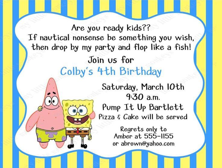 Image of: Spongebob Birthday Party Invitations
