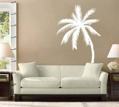 Six Foot Palm Tree Silhouette Room Design Vinyl Wall Sticker Decal. $59.99, via Etsy.