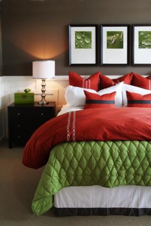green+gray bedroom
