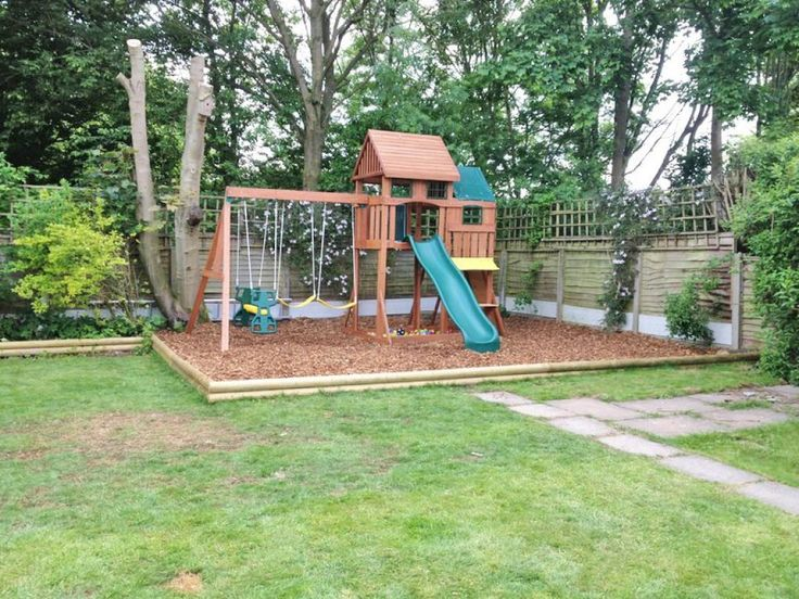 kids garden playhouse with slide and swings - Garden Sheds For Kids