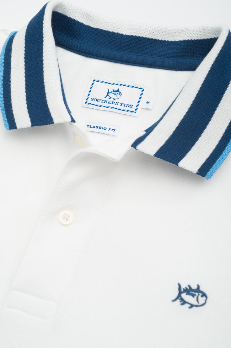 Bay Blue Tipped Polo | Southern Tide
