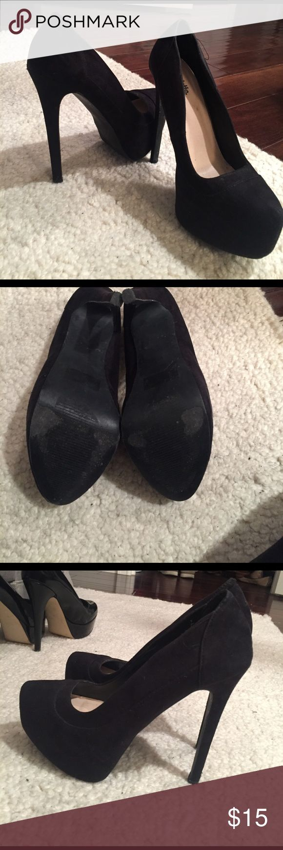 Charolette Russe Black Suede Platform Pumps Black suede platform pumps. Fairly comfortable for being so high. Slightly pointed toe. Charlotte Russe Shoes Platforms