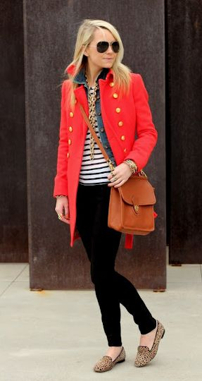 very classyBlack Skinny, Fashion, Style, Red Jackets, Leopards, Fall Outfit, Stripes, Black Jeans, Red Coats