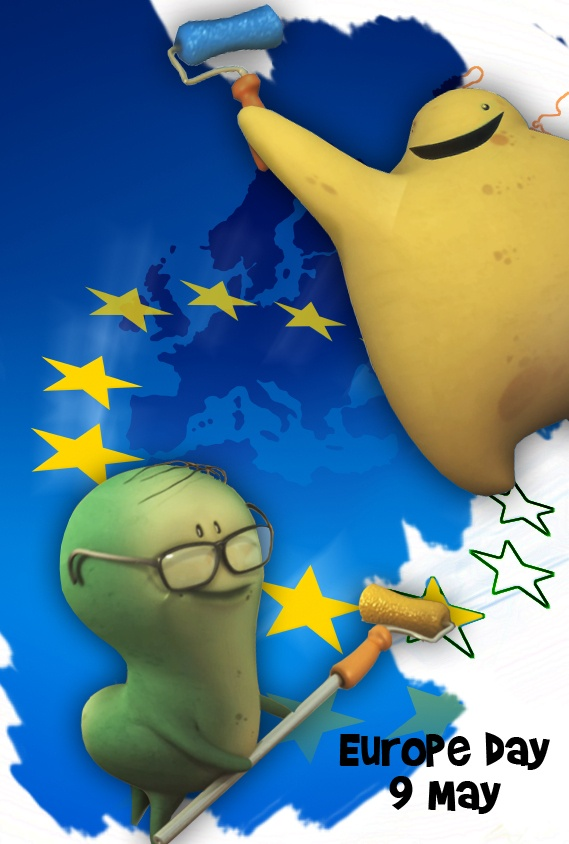 Happy  Europe day! Glumpers celebrate the union of the countries --  Los Glumpers celebran el Día de Europa para conmemorar el primer tratado en 1950 que comenzó la unión de los países de Europa. Feliz 9 de Mayo