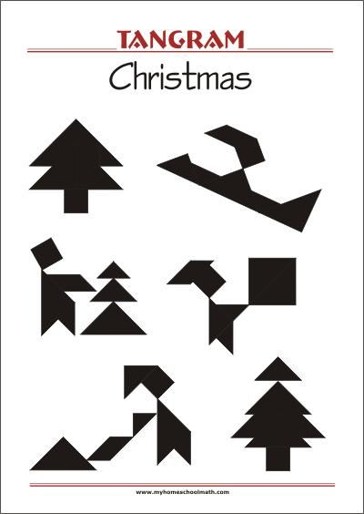 Tangram Christmas - Worksheets with solutions - try to solve the puzzle shapes  Tangram