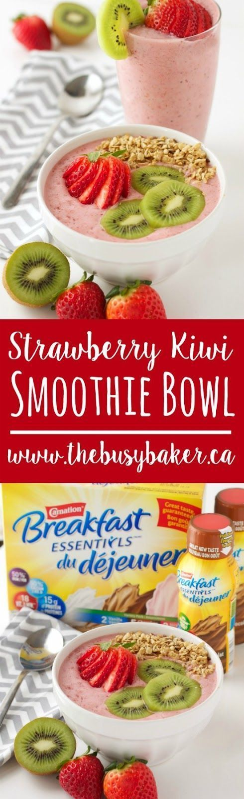 This Strawberry Kiwi Smoothie Bowl recipe from thebusybaker.ca makes your mornings easier! Featuring Carnation Breakfast Essentials®. #BetterBreakfast #CarnationSweepstakes #ad #CollectiveBias