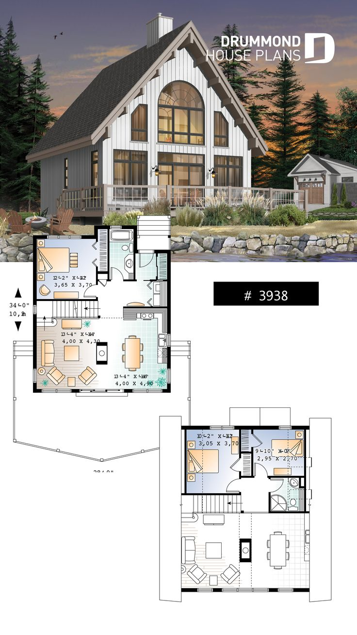AFrame wood cabin house plan with mezzanine and open