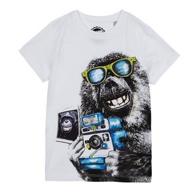 bluezoo Boys' white monkey print t-shirt | Debenhams