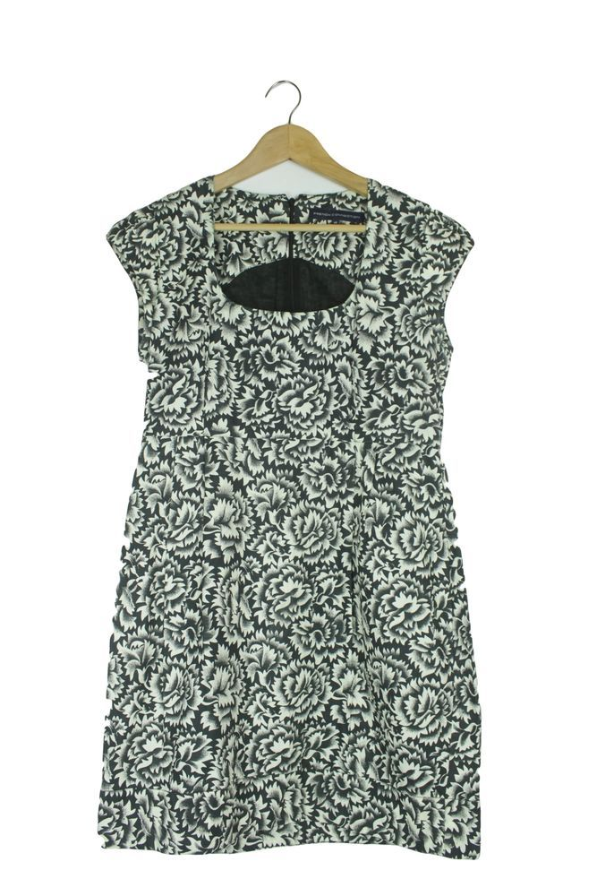 French Connection White Black Floral Cap Sleeve Dress Size 14