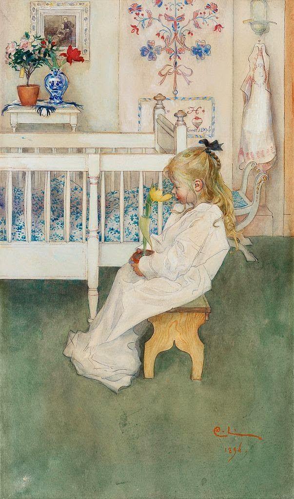 """Carl Larsson """"I nattskjortan/Lisbeth med gul tulpan/Lisbeth i linnet"""" (1894). Här sitter Lisbeth 3 år och beundrar en gul tulpan som växer  och blommar på sin lök i en lerkruka. Akvarell."""