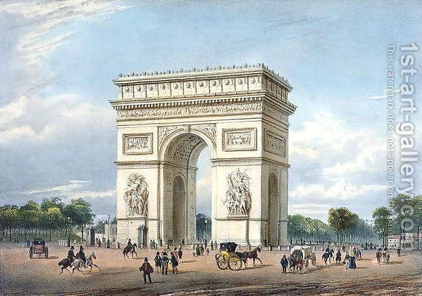 The Arc de Triomphe and the Place de l'Etoile, illustration for 'Promenades dans Paris et ses environs', c.1840 by Philippe Benoist