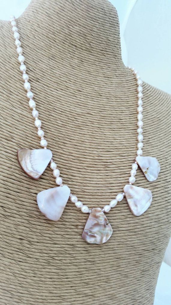 Summer end sale! Mother of pearl necklace - pink mother of pear -  fan necklace - pink shell necklace - pink pearl necklace -