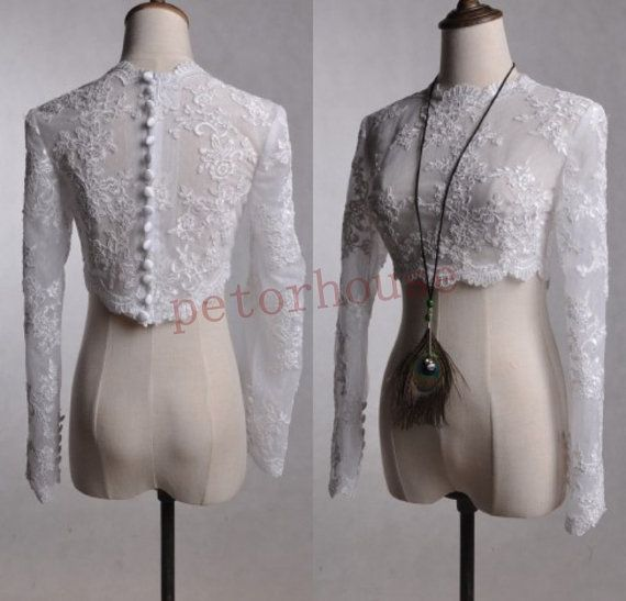 White Long Sleeves Formal Lace Jacket Bridal by petorhouse on Etsy