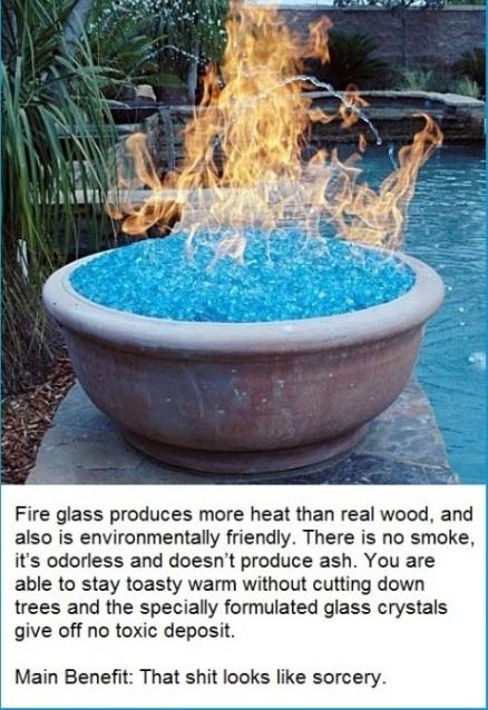 Fire Glass Firepits (back yard)