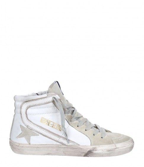 Sneakers Slide Cuir Blanc - GOLDEN GOOSE