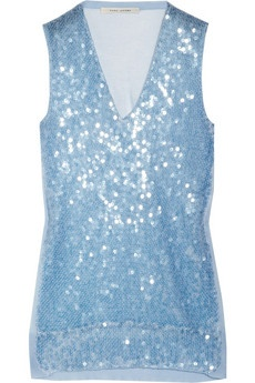 Marc Jacobs Sequined fine-knit cotton-blend tank. Marc Jacobs' fine-knit cotton-blend tank is a stunning way to work the trend. Sprinkled with iridescent sequins, this runway-fresh style will add sparkle and shine to your evening look. Pair with a sleek white pencil skirt for new-season cocktail glamour. Pale-blue fine-knit cotton-blend. Pale-blue sequin embellishment, ribbed trims. Slips on. 78% cotton, 22% nylon: Christmas Parties, Jacobs Sequins, Fine Knits Cotton Blend, Cotton Blend Tanks, Fineknit Cottonblend, Cottonblend Tanks, Marc Jacobs, Sequins Fine Knits, Sequins Fineknit