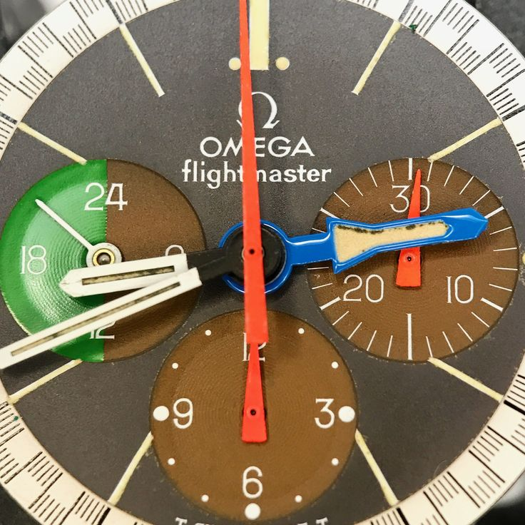 Omega Flightmaster 1970's pilots chronograph dial closeup before repair @manhattantimeservice authorized Omega service center