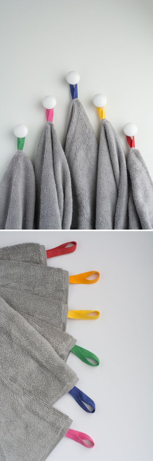 DIY: Color Coded Towels. Say goodbye to towel confusion in shared bathrooms!