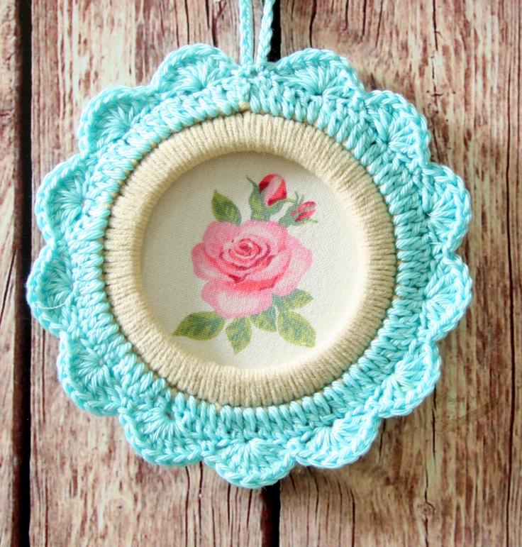 Crochet flower frame/ Ornament flowers by babytogo on Etsy
