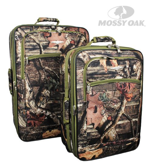 Mossy Oak 2 Piece Rolling Luggage Set in Break-Up Infinity with Green accents