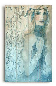 amazoncom mermaid by artist biljana kroll 14x23 planked wood sign - Mermaid Home Decor