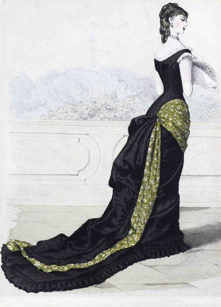The Me I Saw | Evening dress fashion plate, late 1870s.