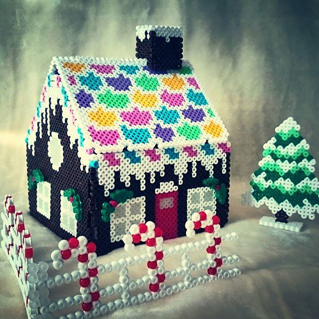 3D Christmas gingerbread house perler beads by sweetiebanana