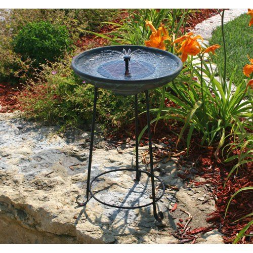 Have to have it. Smart Solar Somerset Verdigris Solar Bird Bath Fountain - $149.99 @hayneedle.com