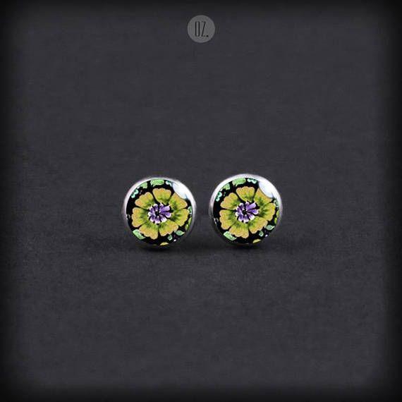 Studs Yellow SunFlowers Mini handmade folk jewelry from