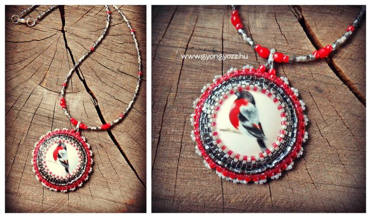 bead embroidery porcelain necklace with bird pattern