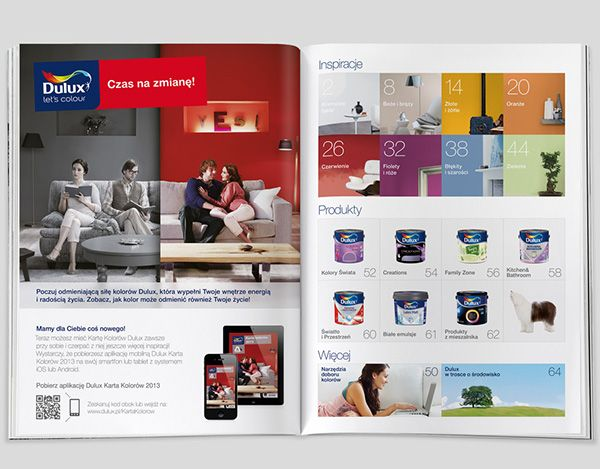 Dulux Colour Card 2013 is a yearly publication on Dulux paints. This beautifully printed catalogue inspires and encourages to change your environment and to add colour to your life. Mobile versions included more content and extra tools.
