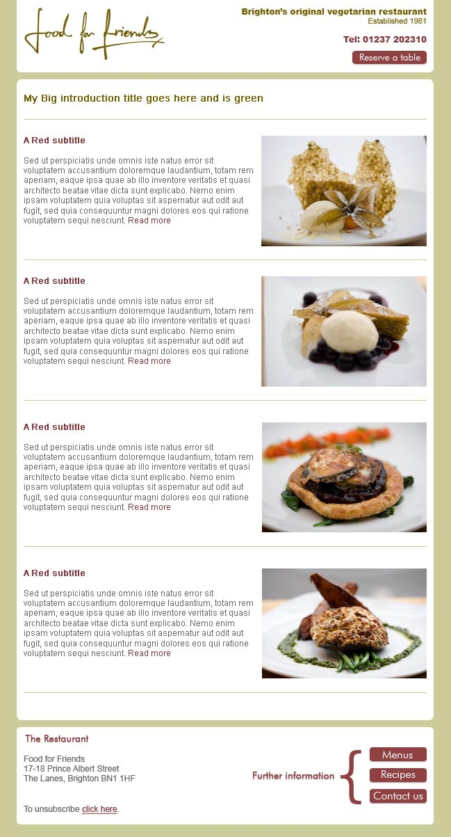 Brighton Vegetarian restaurant Food For Friends needed an email template with repeatable regions for promoting offers.