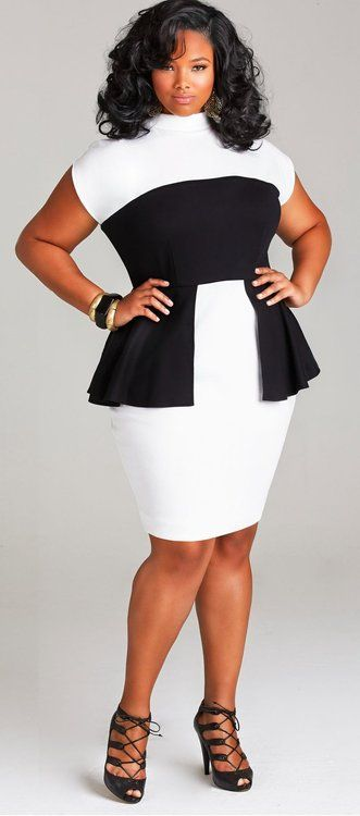 "plussizeebony:  Anita Marshall in ""CECELIA"" PEPLUM PONTE DRESS -..."