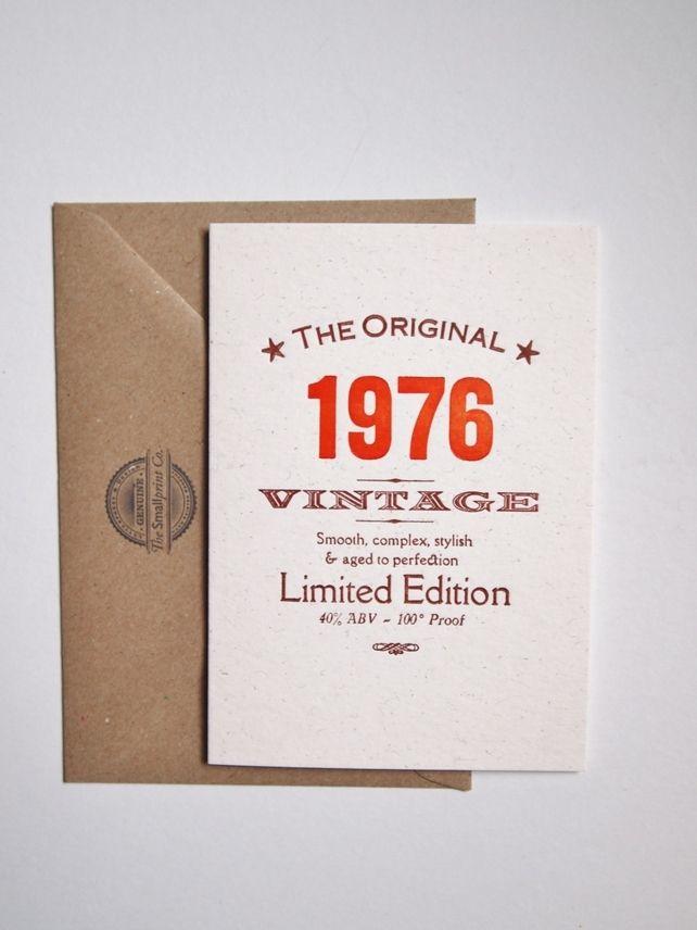 40 Fortieth 1976 letterpress birthday card