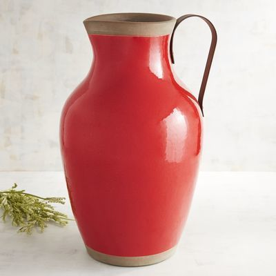 Large Red Farmhouse Terracotta Pitcher