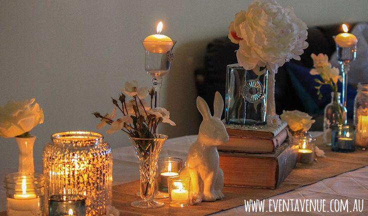 Vintage wedding decorations, vintage wedding ideas, vintage wedding style, vintage bunny figurine.