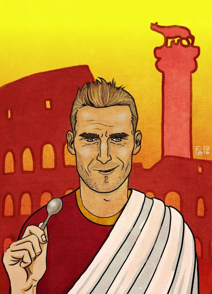 Roma Art: Totti, Rudiger, Spalletti, Strootman and Ago